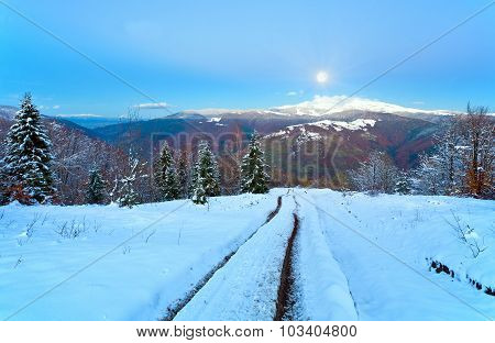 Evening Way From Autumn To Winter And Fool Moon (carpathian, Ukraine)