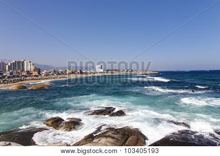 Winter view of Sokcho, a city located at South Korea east coastline.