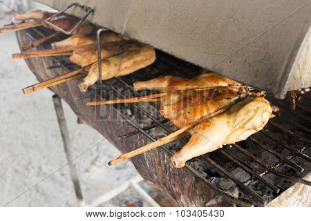 Hot Roasting Chicken On Smoked Grill Barbecue