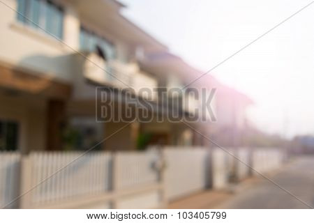 Large House Of Village, Blur Image Background