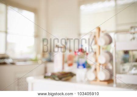 Blur Image Background, Kitchen Room Interior In House