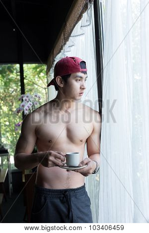 Handsome Man Drink A Coffee In The Morning, Male Healthy Care Food And Drink