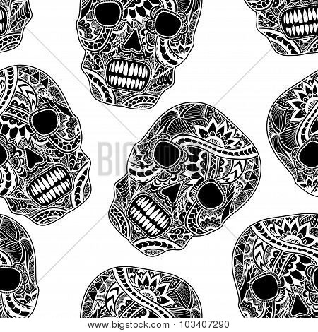 Seamless pattern with Decorate Skull painted ornament black on white