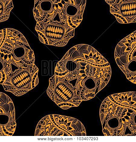 Seamless pattern with Decorate Skull painted ornament  orange on black