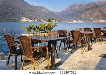 A little cafe in old Perast town with a view on Bay of Kotor,   Montenegro
