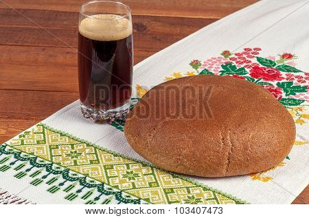 Fresh Rye Bread On Old Wooden Table