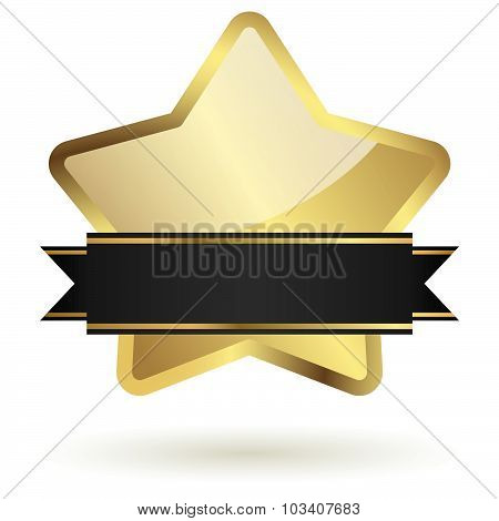 Golden Star With Banner
