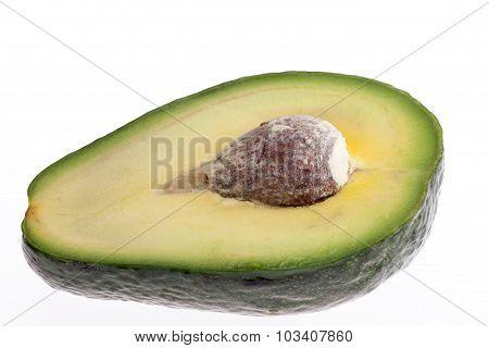 Half Of Cut Avocado Isolated On White Background