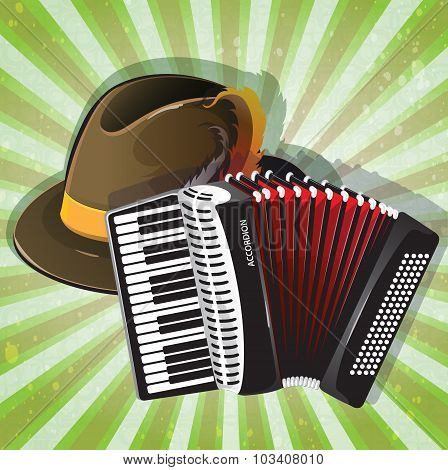 German Hat And Accordion