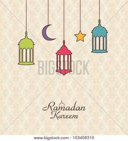 Celebration Islamic Card with Arabic Hanging Lamps for Ramadan K