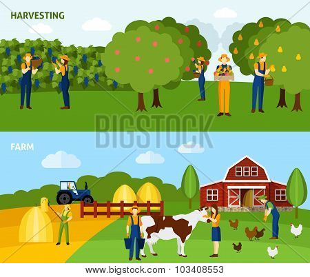Farming 2 flat horizontal banners composition