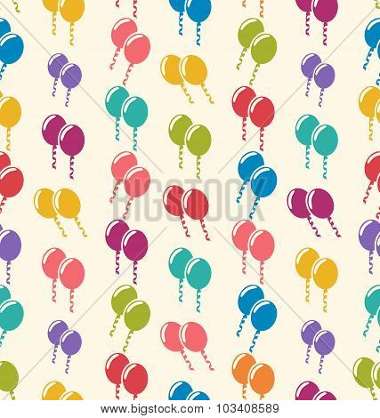 Seamless Pattern Colorful Balloons for Holiday Celebration Event