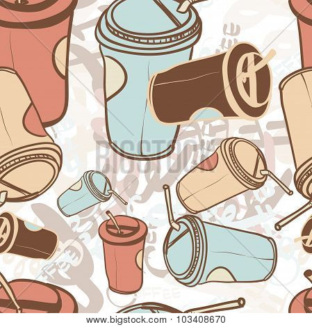 Textile seamless pattern of word coffee labels and takeaway coff