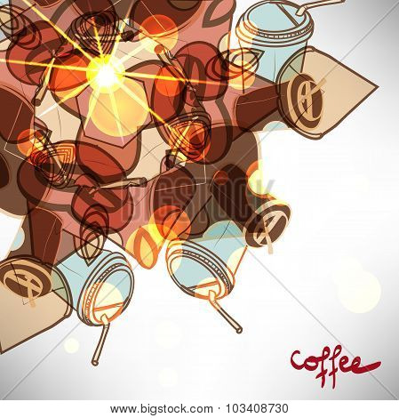 Background with abstract takeaway coffee cup  with space for tex