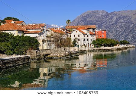 Small Town Of Prcanj Along The Bay Of Kotor, Montenegro