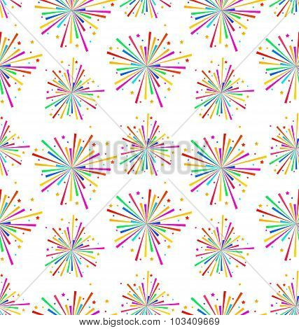 Seamless Texture with Multicolored Firework for Holiday