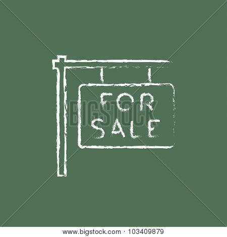 For sale placard hand drawn in chalk on a blackboard vector white icon isolated on a green background.