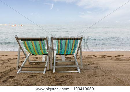 Beach Chair On The Beach In Pattaya