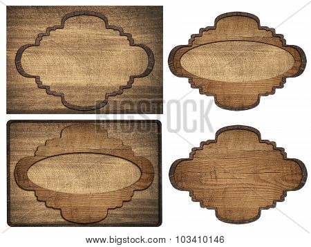 Set of brown wooden signboard, plates, planks and dark frames are isolated on white background