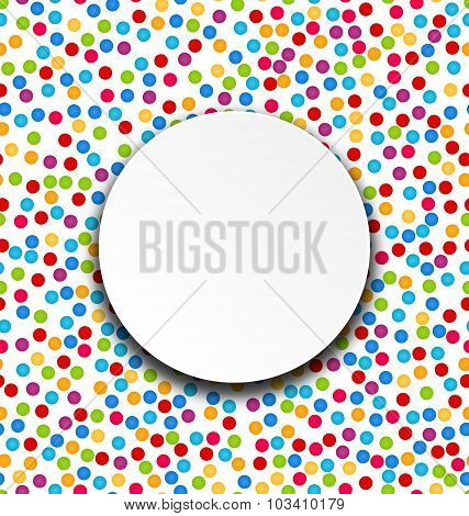 Circle Frame on Confetti Background