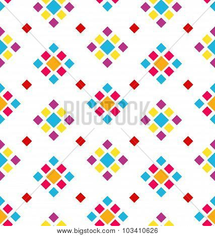 Seamless Geometric Texture with Colorful Rhombus, Periodic Background