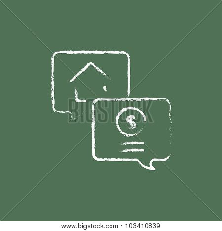 Real estate transaction hand drawn in chalk on a blackboard vector white icon isolated on a green background.