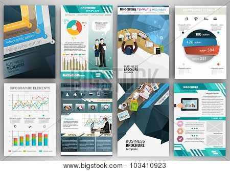 Blue Business Brochure Template With Infographic Elements