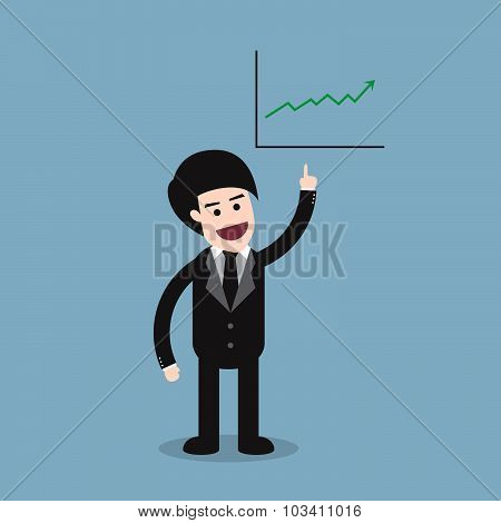 Stock Raise Up High With Business Man And Graph