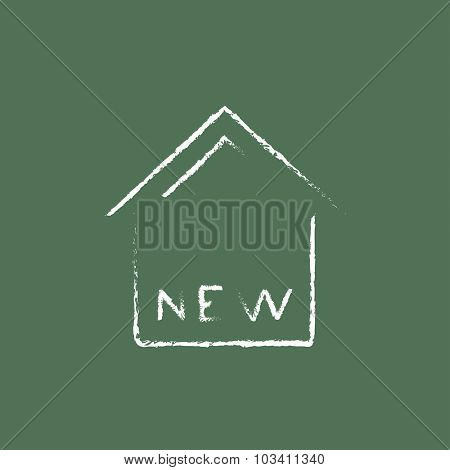New house hand drawn in chalk on a blackboard vector white icon isolated on a green background.