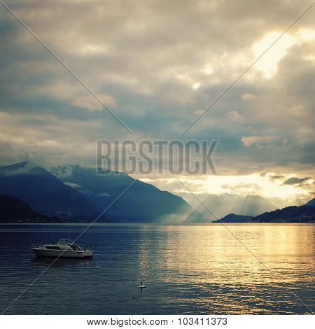 View Of Lago Di Como At The Sunset. Aged Photo.