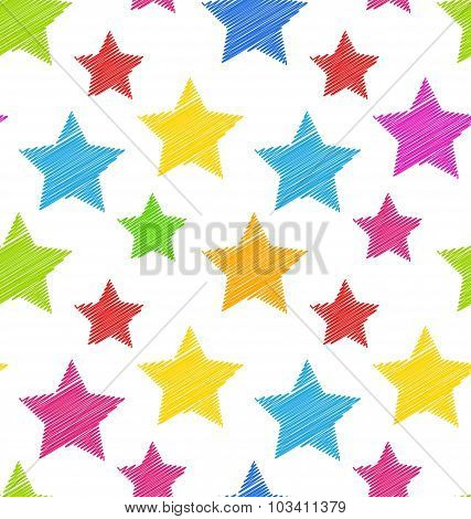 Seamless Texture with Colorful Stars, Elegance Kid Pattern
