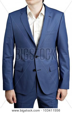 Ocean Blue Stain Elegant Suit, With Blazer With Two Buttons.