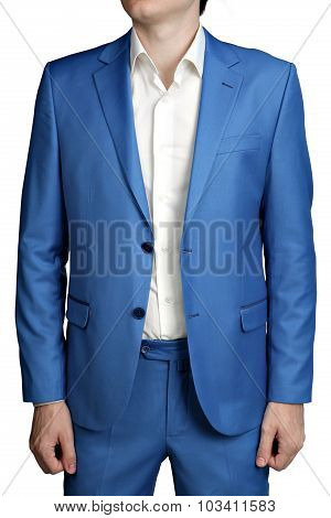 Male Light Blue Wedding Suit Groom, Unbuttoned Jacket, Two Buttons.