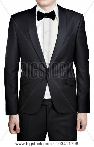 Black Men Wedding Suit Jacket, Shirt And Tie Butterfly Isolated On White Background.