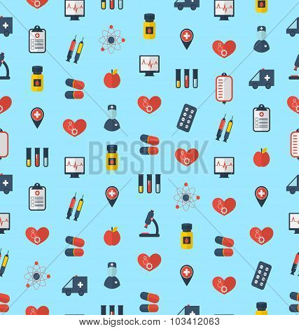 Medical Seamless Pattern, Flat Simple Colorful Icons