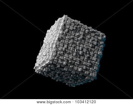 Cube With Extruded Surface Isolated On Black