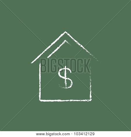 House with dollar symbol hand drawn in chalk on a blackboard vector white icon isolated on a green background.