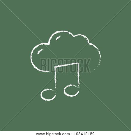 Cloud music hand drawn in chalk on a blackboard vector white icon isolated on a green background.