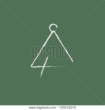 Triangle hand drawn in chalk on a blackboard vector white icon isolated on a green background.