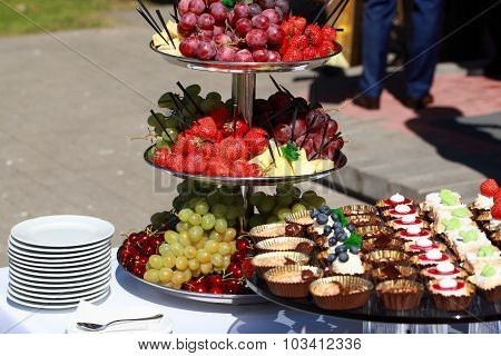 canapes on a table in the buffet