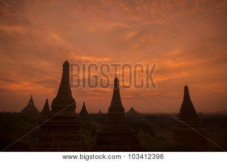 Asia Myanmar Bagan Temple Pagoda Landscape