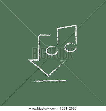 Download music hand drawn in chalk on a blackboard vector white icon isolated on a green background.
