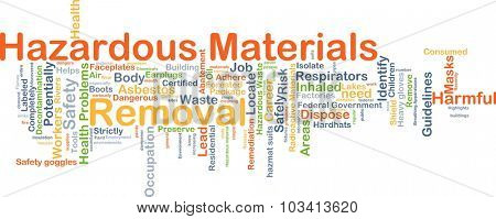 Background concept wordcloud illustration of hazardous materials removal
