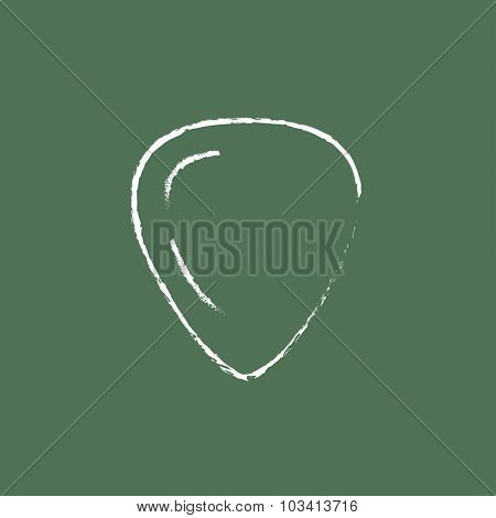 Guitar pick hand drawn in chalk on a blackboard vector white icon isolated on a green background.