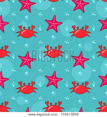 Seamless Background with Starfish and Crabs