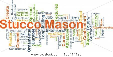 Background concept wordcloud illustration of stucco mason