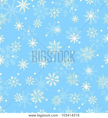Seamless Pattern with Variation Snowflakes