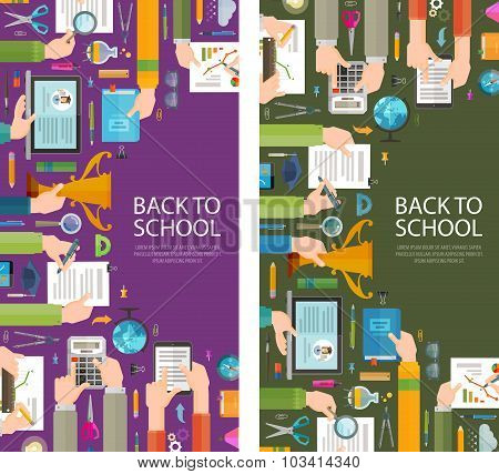 school vector logo design template. education or learning icons