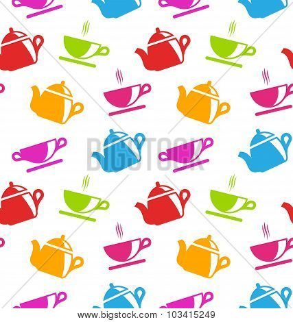 Seamless Texture with Teapots and Teacups