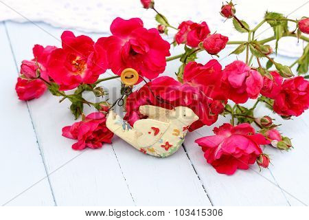 Roses and Vintage Bird